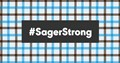 Plaid pattern reminiscent of Craig Sager with the hashtag of Sager Strong over the top of it